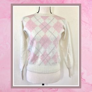 Vintage Pink Cream Cashmere Argyle Sweater XS S